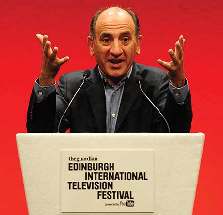 Armando Iannucci delivering this year's MacTaggart Lecture