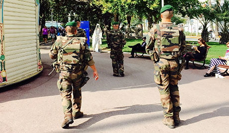Armed soldiers patrolled the Croisette