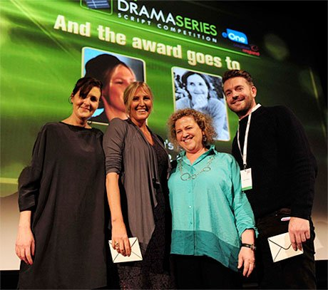 2015 Script competition winners with eOne exec VP of global production Carrie Stein