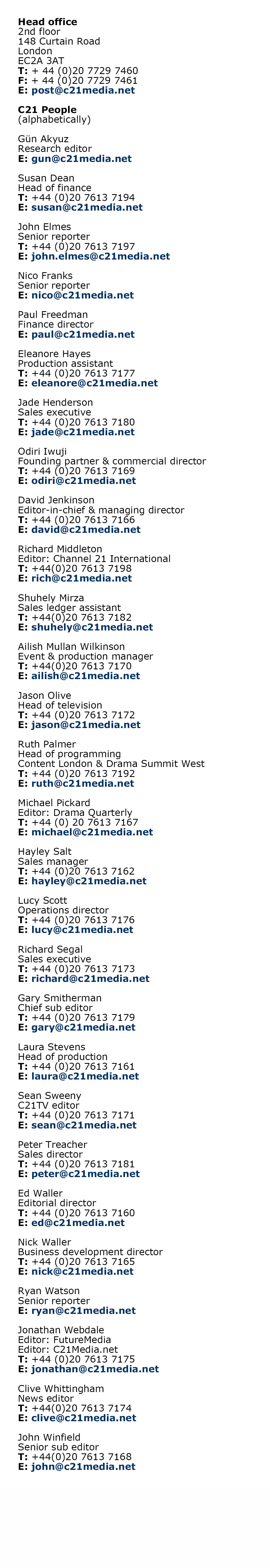 Web Contacts August 2018