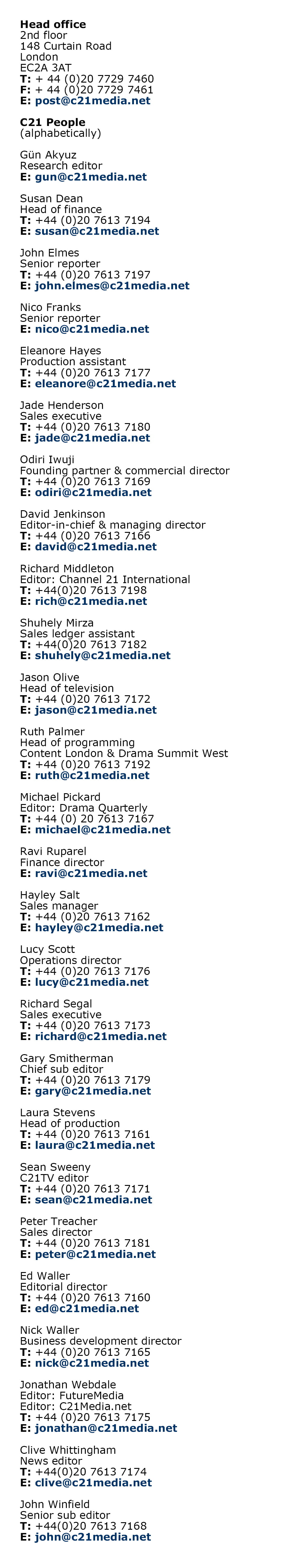 Web Contacts February 2019