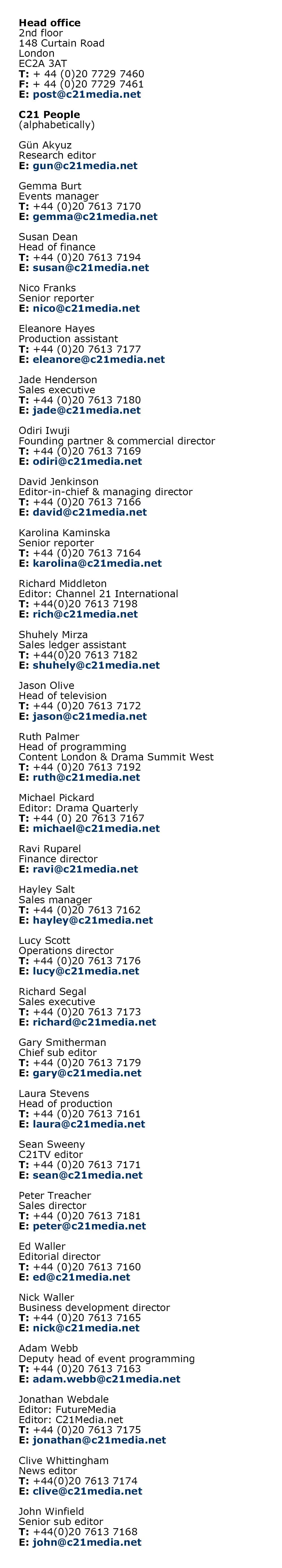 Web Contacts June 2019
