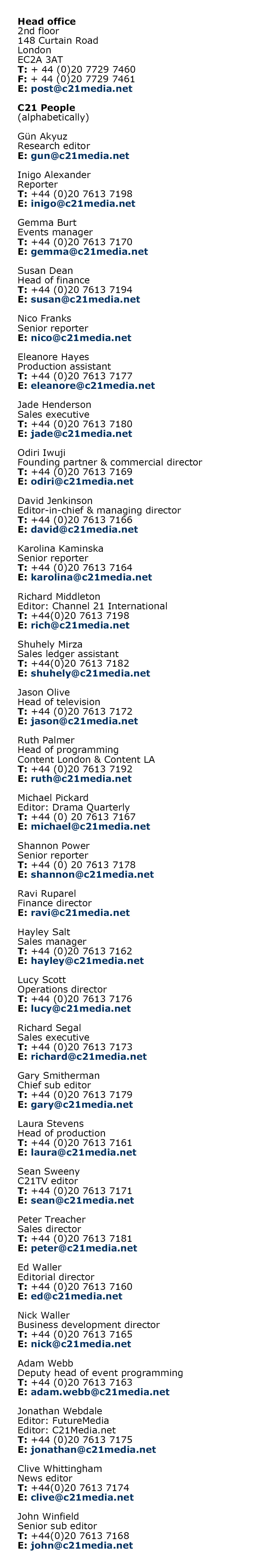 Web Contacts August 2019
