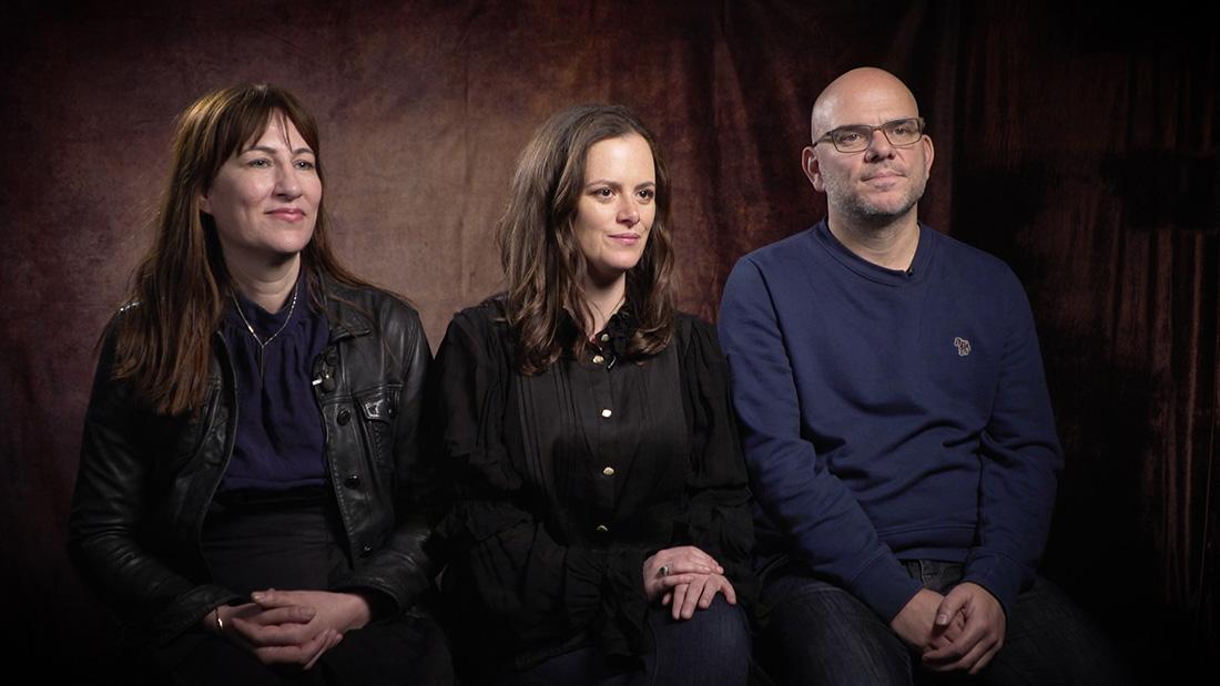 Samantha Strauss, Rachel Gardner and Jamie Laurenson contemplate The End